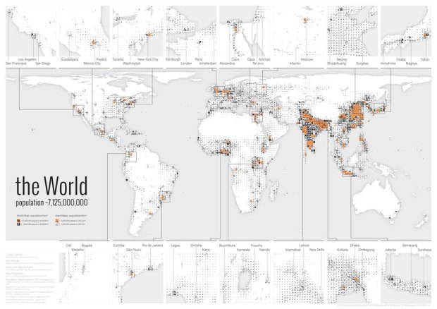 An overview of the FatFonts poster of the world population.